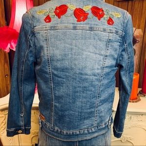 Pinc Faux Sherpa Lined Embroidered Denim Jacket